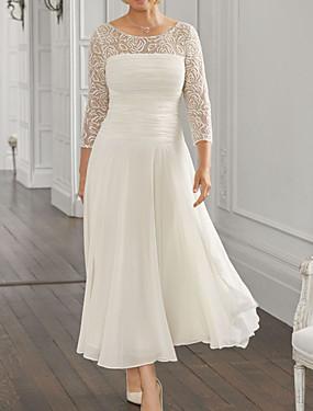 billige Bryllup & Eventer-A-linje Kjole til brudens mor Elegant Besmykket Ankellang Chiffon Blonder 3/4 ermer med Paljett Ruchiing 2020