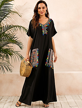 cheap Women's Clothing-Women's Plus Size Kaftan Dress Maxi long Dress - Short Sleeves Print Summer V Neck Casual Boho Daily Loose 2020 Black S M L XL XXL XXXL XXXXL XXXXXL