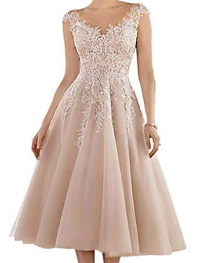 cheap New Arrivals-A-Line Mother of the Bride Dress Elegant V Neck Tea Length Lace Tulle Sleeveless with Pleats Appliques 2020