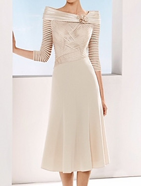 cheap New Arrivals-A-Line Mother of the Bride Dress Elegant Bateau Neck Tea Length Chiffon Satin 3/4 Length Sleeve with Ruching Flower 2020