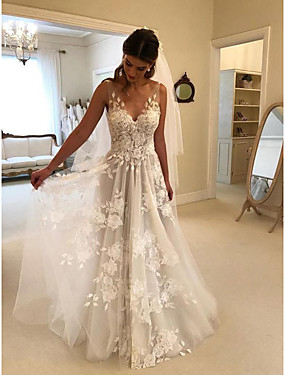 cheap The Wedding Store-A-Line Wedding Dresses V Neck Court Train Lace Regular Straps Formal Casual Beach with 2020