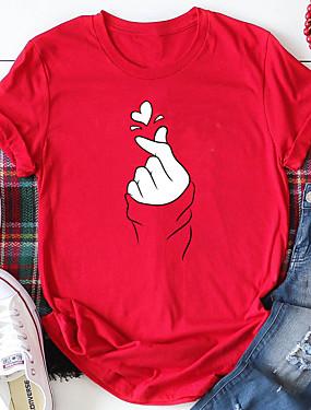povoljno Ženska odjeća-Žene Majica s rukavima Sažetak Grafike Print Okrugli izrez Tops 100% pamuk Osnovni Ulični šik Ljeto Sva doba Lila-roza Red Bijela