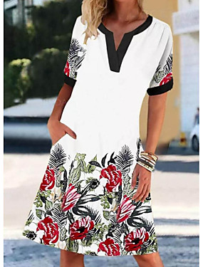 cheap Women's Clothing-Women's Shift Dress Knee Length Dress - Short Sleeves Floral Print Summer V Neck Casual Daily 2020 White M L XL XXL XXXL