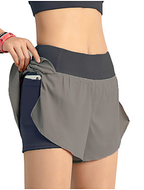 cheap Sports & Outdoors-INFLACHI Women's Running Shorts Athletic Bottoms with Phone Pocket 2 in 1 Liner Sport Gym Workout Running Marathon Lightweight Breathable Quick Dry Black Blushing Pink Blue Solid Colored