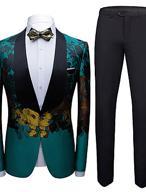 cheap Weddings & Events-Tuxedos Standard Fit Shawl Collar Single Breasted One-button Chiffon / Polyester Embossed / Lattice / Printing