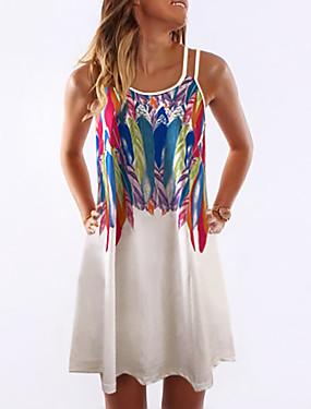 זול ביגוד נשים-בגדי ריקוד נשים שמלת כתפיות שמלת מיני - ללא שרוולים גראפי דפוס קיץ חגים 2020 לבן אודם צהוב כתום כחול בהיר S M L XL XXL XXXL XXXXXL