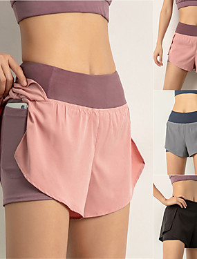 cheap Sports & Outdoors-Women's High Waist Running Shorts 2 in 1 Running Shorts with Built In Shorts 2 in 1 Liner Shorts Bottoms Breathable Quick Dry Black Pink Dusty Blue Spandex Yoga Gym Workout Running Sports Activewear