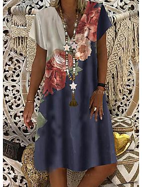 זול ביגוד נשים-בגדי ריקוד נשים שמלת שיפט שמלה באורך הברך - שרוול קצר פרחוני דפוס קיץ צווארון V יום יומי יומי 2020 פול M L XL XXL XXXL