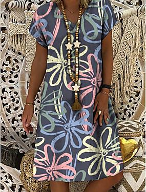 cheap Women's Clothing-Women's Shift Dress Knee Length Dress - Short Sleeve Floral Print Summer V Neck Casual Daily 2020 Gray M L XL XXL XXXL