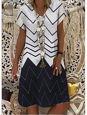 저렴한 여성용 의류-여성용 A 라인 드레스 무릎 길이 드레스 - 짧은 소매 프린트 스트라이프 여름 V 넥 캐쥬얼 보호 휴가 2020 화이트 푸른 S M L XL XXL XXXL