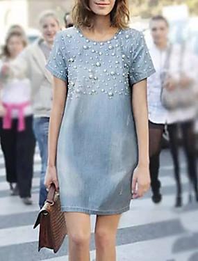 저렴한 여성용 의류-여성용 A 라인 드레스 데님 무릎 길이 드레스 - 짧은 소매 컬러 블럭 여름 작업 / 오피스 2020 밝은 블루 S M L XL XXL XXXL XXXXL