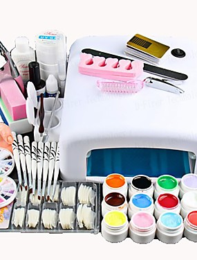 cheap Nail Kits & Sets-Nail Designs 2020 25 Pcs Nail Acrylic Set Kits 12 Colors UV gel 36W LED UV Nail Lamb/ Nail Dryer False Nail Basic Nail Art Tools for Beginner Nail salon In Stock