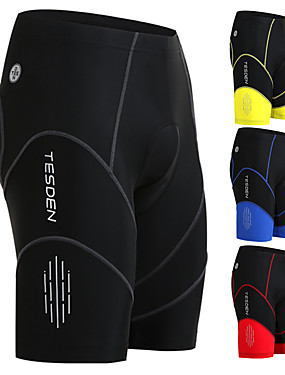 cheap Sports & Outdoors-TASDAN Men's Cycling Padded Shorts Nylon Coolmax® Spandex Black Yellow Red Bike Shorts Breathable 3D Pad Quick Dry Sports Solid Color Mountain Bike MTB Road Bike Cycling Clothing Apparel / Advanced