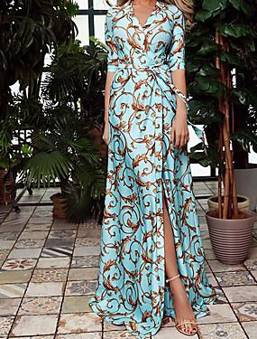 povoljno Ženska odjeća-Žene Haljina plašt Maks haljina - 3/4 rukava Print Ljeto Boho Party 2020 Plava S M L XL