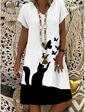 tanie Odzież damska-Damskie Sukienka trapezowa Sukienka do kolan - Krótki rękaw Motyl Kot Zwierzę Lato W serek Casual Codzienny 2020 Biały M L XL XXL XXXL