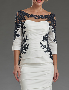 cheap Weddings & Events-Sheath / Column Mother of the Bride Dress Elegant Off Shoulder Knee Length Lace Taffeta 3/4 Length Sleeve with Appliques Ruching 2020