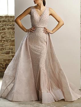 cheap Weddings & Events-Mermaid / Trumpet Elegant Sparkle Engagement Formal Evening Dress V Neck Sleeveless Detachable Tulle with Beading 2020