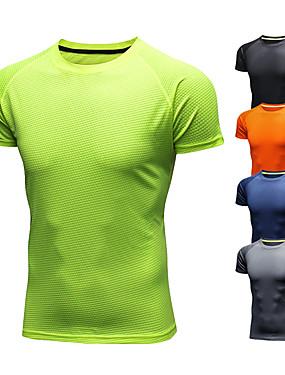 cheap Sports & Outdoors-Men's Running T-Shirt Short Sleeve Ice Silk Breathable Quick Dry Moisture Wicking Fitness Gym Workout Running Walking Jogging Sportswear Tee T-shirt Black Orange Green Navy Blue Gray Activewear
