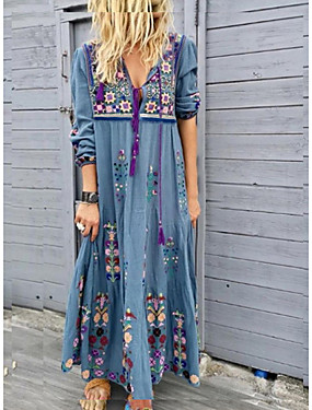 cheap Clearance-Women's Maxi long Dress - Long Sleeve Tribal Print Spring Summer Vacation Boho Loose High Waist 2020 Red Brown Gray Light Blue S M L XL XXL XXXL XXXXL XXXXXL