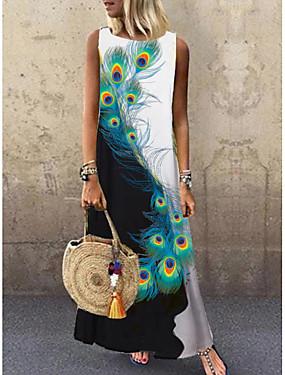 זול ביגוד נשים-בגדי ריקוד נשים טווס שמלת מקסי - ללא שרוולים חיה דפוס קיץ יום יומי חופשה 2020 שחור M L XL XXL XXXL
