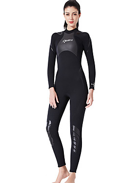 cheap Sports & Outdoors-Dive&Sail Women's Full Wetsuit 3mm SCR Neoprene Diving Suit Thermal / Warm Quick Dry Long Sleeve Back Zip Knee Pads - Diving Surfing Water Sports Solid Colored Spring &  Fall / Stretchy
