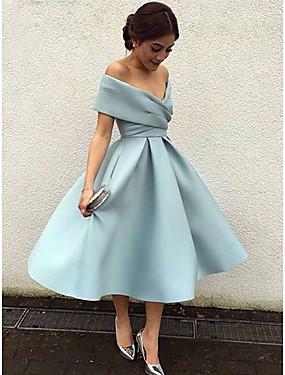 cheap Weddings & Events-A-Line Elegant Blue Cocktail Party Formal Evening Dress V Neck Short Sleeve Tea Length Matte Satin with Pleats 2020