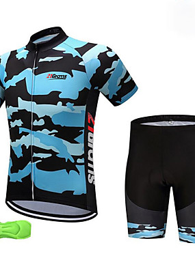 cheap Sports & Outdoors-Fastcute Boys' Short Sleeve Cycling Jersey with Shorts - Kid's Lycra Navy Blue Camo Bike Clothing Suit Breathable Quick Dry Anatomic Design Moisture Wicking Sports Camo Mountain Bike MTB Road Bike