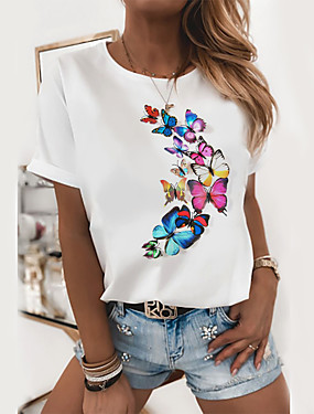 cheap Down to $2.99-Women's T-shirt Graphic Prints Round Neck Tops Slim 100% Cotton Basic Top Butterfly Cat White