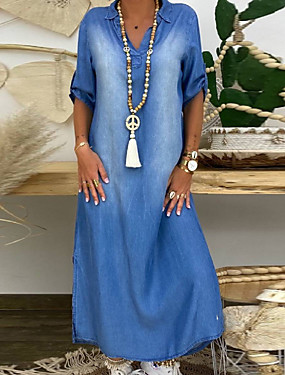 cheap Women's Clothing-Women's Denim Dress Maxi long Dress - Half Sleeve Summer V Neck Plus Size Casual 100% Cotton Loose 2020 Blue M L XL XXL XXXL