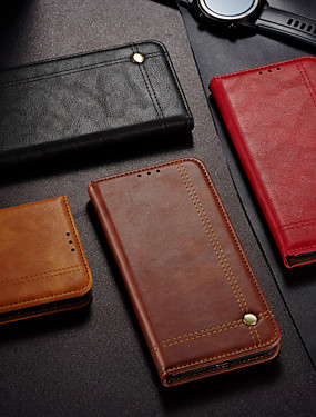 cheap OPPO?Case-Case For OPPO A12E A92s A72 A52 A92 A7 A7X  A5 AX5 A5 2020 A3S Wallet Flip Full Body Cases Solid Colored PU Leather