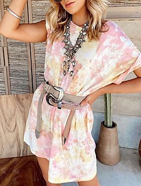 Χαμηλού Κόστους Γυναικεία Ρούχα-Γυναικεία Κοντομάνικο φόρεμα Μίνι φόρεμα - Κοντομάνικο Δετοβαμένο Καλοκαίρι Καθημερινό 2020 Ανθισμένο Ροζ Τ M L XL