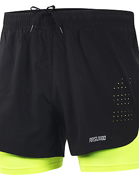 cheap Sports & Outdoors-Arsuxeo Men's Running Shorts Athletic Bottoms 2 in 1 Liner Split Spandex Sport Gym Workout Running Marathon Lightweight Quick Dry Reflective Strips Plus Size Light Yellow Black Grey Blue Solid