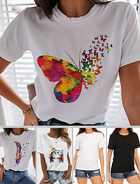 cheap Women's Clothing-Women's T-shirt Rainbow Graphic Prints Butterfly Tops - Print Round Neck 100% Cotton Basic Daily Spring Summer Butterfly White Black S M L XL 2XL 3XL