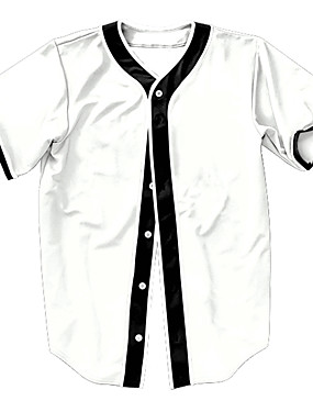 cheap Team Sports-Men's Baseball Jersey Sports Fashion Polyester Top Short Sleeve Activewear Breathable Quick Dry Comfortable White