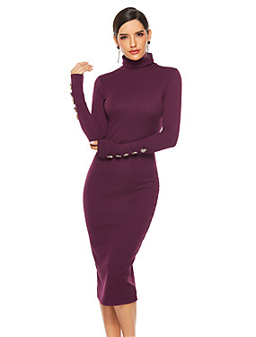 cheap Women's Clothing-Women's Sheath Dress Midi Dress - Long Sleeve Solid Color Fall Sexy 2020 Wine Blue Gray S M L XL XXL XXXL XXXXL XXXXXL