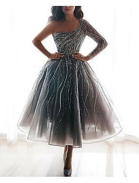 cheap Women's Clothing-Women's A-Line Dress Maxi long Dress - Long Sleeve Solid Color Print Summer Elegant Daily 2020 Silver S M L XL