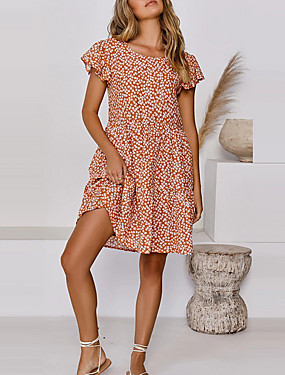 cheap Women's Clothing-Women's A-Line Dress Short Mini Dress - Short Sleeves Floral Summer Work 2020 Orange Dusty Blue S M L XL