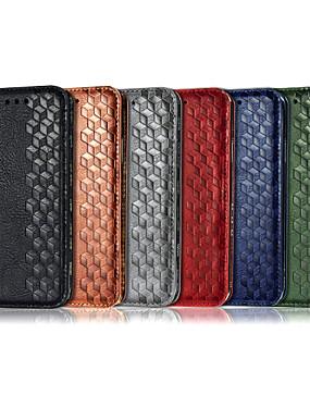 رخيصةأون جراب هاتف فيفو-غطاء من أجل Vivo فيفو Y7S / IQOO Neo / Z5 / فيفو Y17 / Y3 محفظة / حامل البطاقات / مع حامل غطاء كامل للجسم لون سادة / نموذج هندسي جلد PU