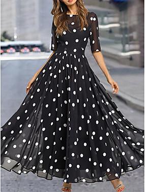 tanie Odzież damska-Damskie Sukienki szyfonowe Sukienka maxi - Rękaw 1/2 Groszki Lato Casual Codzienny 2020 Czarny M L XL XXL XXXL