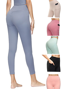 cheap Sports & Outdoors-Women's High Waist Yoga Pants Side Pockets Ruched Butt Lifting Cropped Leggings Butt Lift 4 Way Stretch Breathable Black Red Light Green Spandex Non See-through Gym Workout Running Fitness Sports