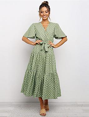 voordelige Dameskleding-Dames A-lijn jurk Midi-jurk - Korte Mouw Polka dot Zomer Vintage 2020 Wit Zwart Klaver S M L XL XXL
