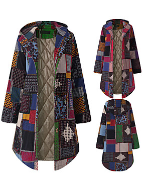 cheap Clearance-Women Patchwork Hooded Long Coat Fashion Long Sleeve Vintage Patch Design Fleece Thicken Jacket Elegant Ladies Thicken Button Outwear Red / Green