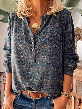cheap Women's Clothing-Women's Shirt Floral Shirt Collar Tops Loose Spring Wine Purple Dusty Blue