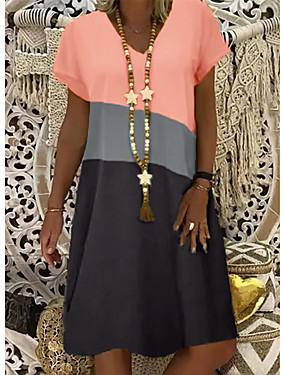 cheap Women's Clothing-Women's Shift Dress Knee Length Dress - Short Sleeve Color Block Summer V Neck Casual 2020 Yellow Orange Khaki S M L XL XXL XXXL XXXXL XXXXXL