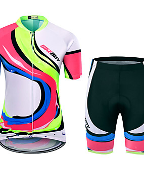 cheap Sports & Outdoors-BIKEBOY Women's Short Sleeve Cycling Jersey with Shorts Polyester Fuchsia Stripes Patchwork Bike Clothing Suit Breathable 3D Pad Quick Dry Reflective Strips Back Pocket Sports Stripes Mountain Bike