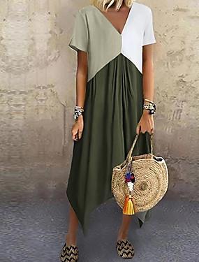 cheap Women's Clothing-Women's A-Line Dress Midi Dress - Short Sleeve Color Block Color Block Spring & Summer V Neck Stylish Casual Vacation 2020 Red Green Gray Light Blue S M L XL XXL XXXL XXXXL XXXXXL