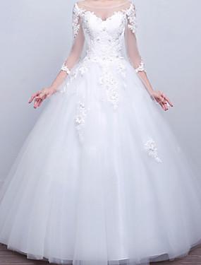 preiswerte Neu Eingetroffen-Ballkleid Hochzeitskleider V-Ausschnitt Pinsel Schleppe Spitze Satin Tüll Langarm Formal mit Applikationen 2020