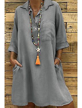 povoljno Ženska odjeća-Žene Haljina-košulja Mini haljina - 3/4 rukava Jednostavan Ljeto V izrez Veći konfekcijski brojevi One Piece Praznik Dom Širok kroj 2020 Crn Žutomrk Sive boje M L XL XXL XXXL XXXXL XXXXXL