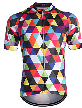 cheap Sports & Outdoors-21Grams Men's Short Sleeve Cycling Jersey Sky Blue Purple Orange Plaid / Checkered Bike Jersey Top Mountain Bike MTB Road Bike Cycling Breathable Quick Dry Back Pocket Sports Coolmax® 100% Polyester