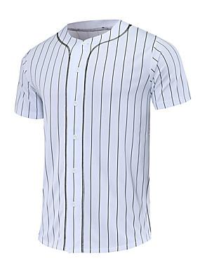 billiga Lagsport-Herr Baseballtröja sporter Polyester T-shirt Kortärmad Sportkläder Andningsfunktion Snabb tork Bekväm Vit Svart